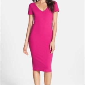 Leith Hot Pink V-Neck Bodycon Dress for Nordstrom